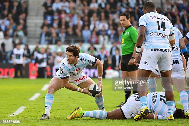Maxime Machenaud of Racing 92 during the rugby Top 14 match between Racing 92 and Montpellier at Stade Olympique YvesduManoir on June 5 2016 in Paris...