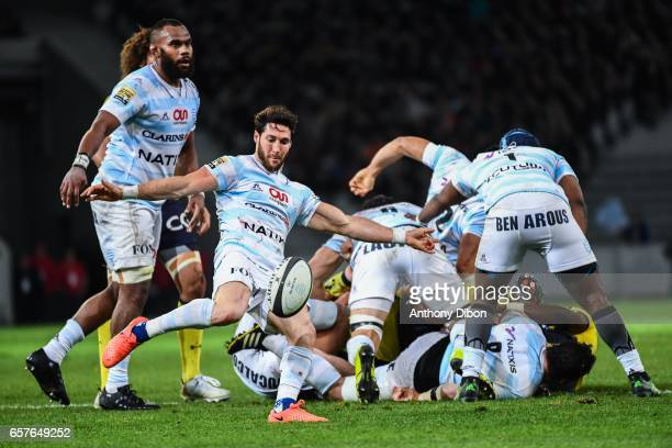 Maxime Machenaud of Racing 92 during the Top 14 match between Racing 92 and Clermont Auvergne at Stade PierreMauroy on March 25 2017 in Lille France