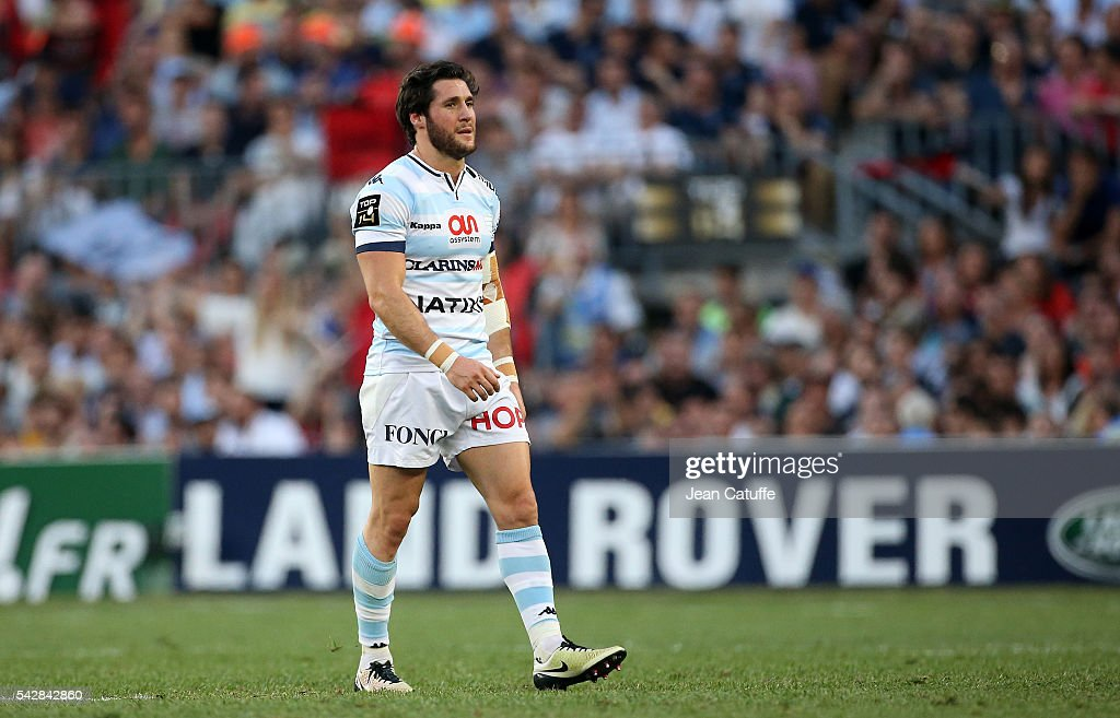 <a gi-track='captionPersonalityLinkClicked' href=/galleries/search?phrase=Maxime+Machenaud&family=editorial&specificpeople=7149115 ng-click='$event.stopPropagation()'>Maxime Machenaud</a> of Racing 92 leaves the pitch after receiving a red card during the Final Top 14 between Toulon and Racing 92 at Camp Nou on June 24, 2016 in Barcelona, Spain.