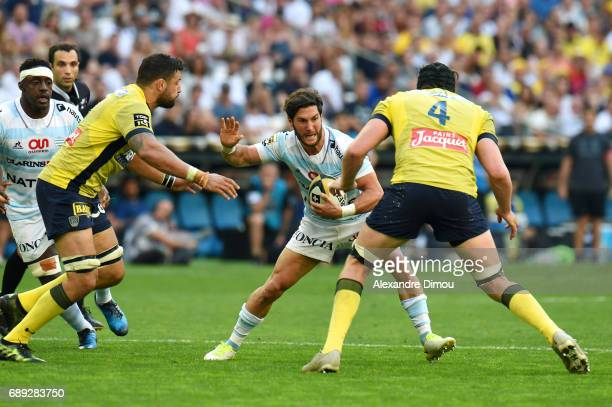 Maxime Machenaud of Racing and Damien Chouly of Clermont during the Top 14 semi final match between Racing 92 and Clermont Auvergne at Orange...