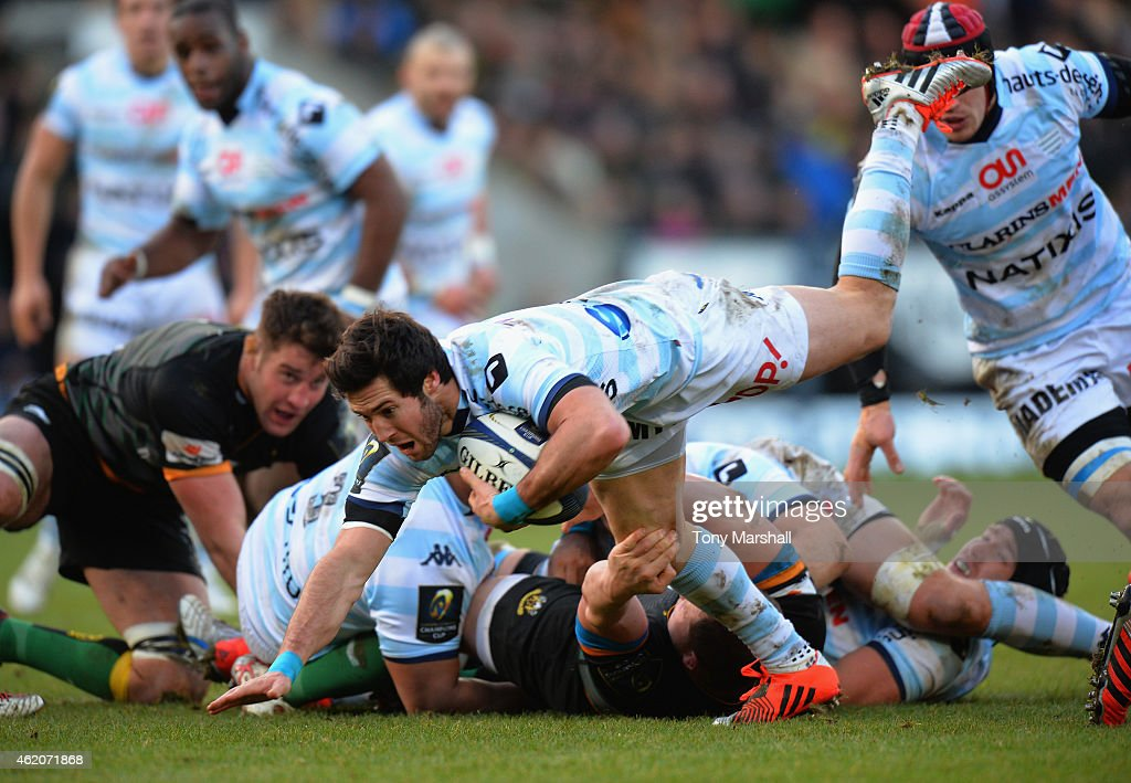 Maxime Machenaud of Racing Metro 92 charges forward during the European Rugby Champions Cup match between Northampton Saints and Racing Metro 92 at Franklin's Gardens on January 24, 2015 in Northampton, England.