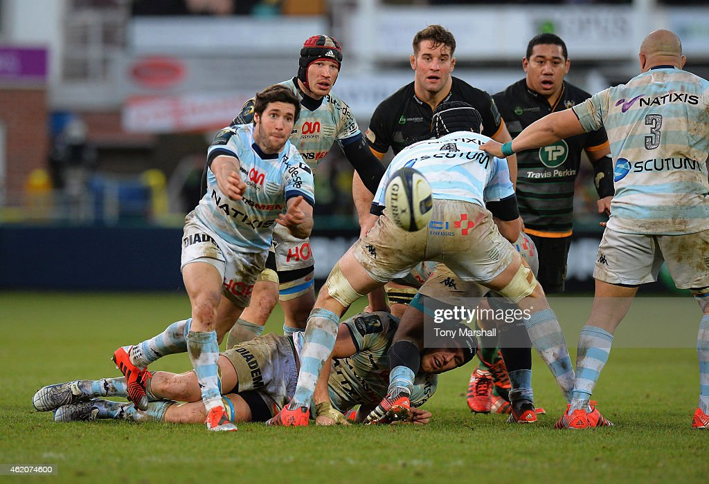 <a gi-track='captionPersonalityLinkClicked' href=/galleries/search?phrase=Maxime+Machenaud&family=editorial&specificpeople=7149115 ng-click='$event.stopPropagation()'>Maxime Machenaud</a> of Racing Metro 92 passes out the ball during the European Rugby Champions Cup match between Northampton Saints and Racing Metro 92 at Franklin's Gardens on January 24, 2015 in Northampton, England.