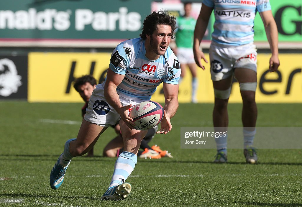 <a gi-track='captionPersonalityLinkClicked' href=/galleries/search?phrase=Maxime+Machenaud&family=editorial&specificpeople=7149115 ng-click='$event.stopPropagation()'>Maxime Machenaud</a> of Racing Metro in action during the Top 14 rugby match between Stade Francais Paris and Racing Metro 92 at Stade Jean Bouin on March 29, 2014 in Paris, France.