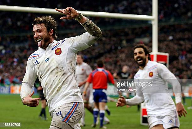 Maxime Medard of France celebrates after soring a try during the RBS Six Nations match between France and Scotland at Stade de France on March 16...