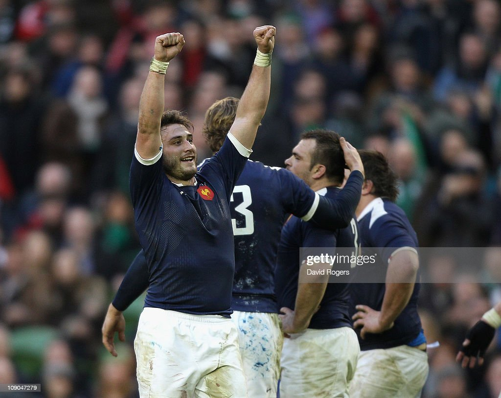 Maxime Medard (L) of France celebrates after their victory during the RBS 6 Nations match between Ireland and France at the Aviva Stadium on February 13, 2011 in Dublin, Ireland.