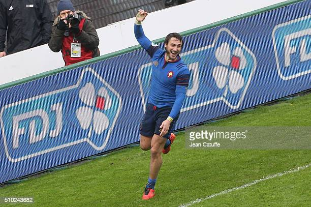 Maxime Medard of France celebrates scoring the winning try during the RBS 6 Nations match between France and Ireland at Stade de France on February...
