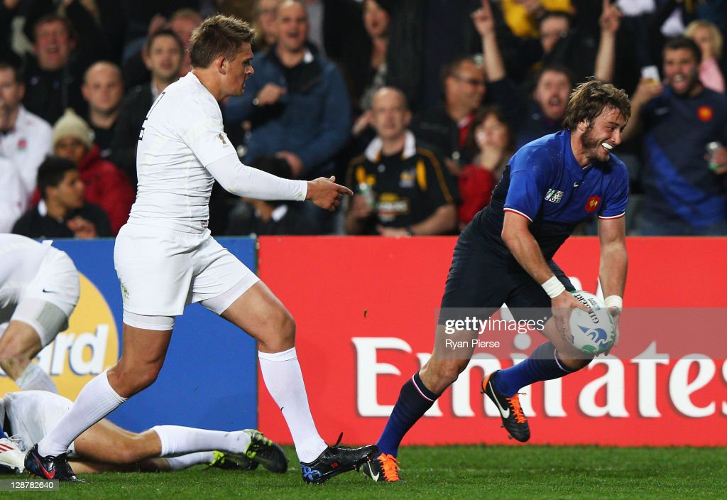 Maxime Medard of France goes over to score his teams second try during quarter final two of the 2011 IRB Rugby World Cup between England and France at Eden Park on October 8, 2011 in Auckland, New Zealand.