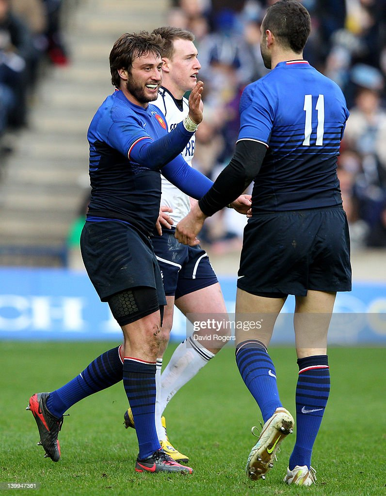 Maxime Medard of France is congratulated by Julien Malzieu (R) after scoring his team's second try during the RBS Six Nations match between Scotland and France at Murrayfield Stadium on February 26, 2012 in Edinburgh, Scotland.