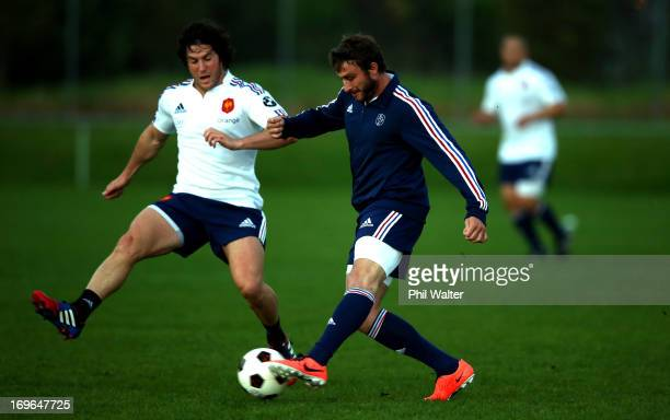 Maxime Medard of France kicks a football during a France rugby training session at Onewa Domain on May 30 2013 in Takapuna New Zealand