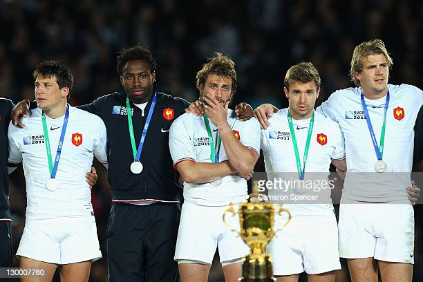 Maxime Medard of France looks on dejected after the 2011 IRB Rugby World Cup Final match between France and New Zealand at Eden Park on October 23...
