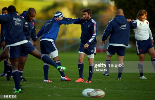 Maxime Medard of France warms up during a France rugby training session at Onewa Domain on May 30 2013 in Takapuna New Zealand