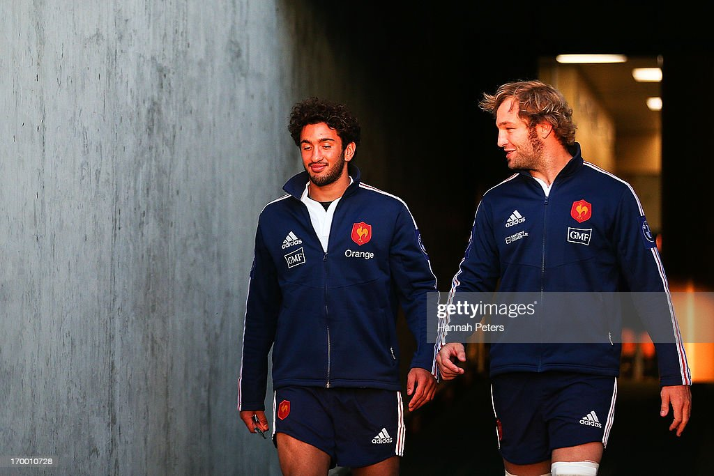 Maxime Mermoz and Antonie Claassen of France arrive for a France rugby training session at North Harbour Stadium on June 6, 2013 in Auckland, New Zealand.