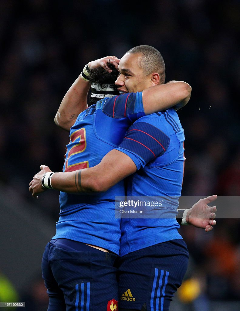 Maxime Mermoz of France (L) celebrates with teammate Gael Fickou of France after scoring his team's third try during the RBS Six Nations match between England and France at Twickenham Stadium on March 21, 2015 in London, England.