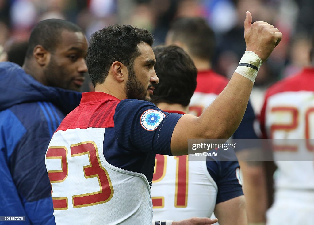<a gi-track='captionPersonalityLinkClicked' href=/galleries/search?phrase=Maxime+Mermoz&family=editorial&specificpeople=561871 ng-click='$event.stopPropagation()'>Maxime Mermoz</a> of France thanks the supporters following the RBS 6 Nations match between France and Italy at Stade de France on February 6, 2016 in Saint-Denis nearby Paris, France.