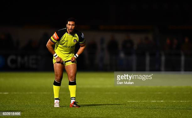 Maxime Mermoz of Leicester Tigers looks on during the AngloWelsh Cup match between Saracens and Leicester Tigers at Allianz Park on February 5 2017...