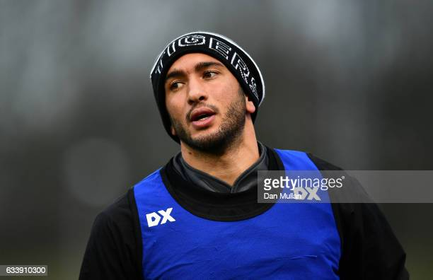 Maxime Mermoz of Leicester Tigers warms up prior to the AngloWelsh Cup match between Saracens and Leicester Tigers at Allianz Park on February 5 2017...