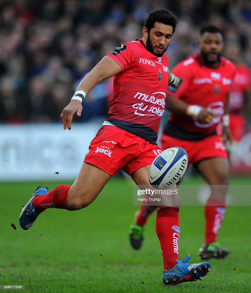 <a gi-track='captionPersonalityLinkClicked' href=/galleries/search?phrase=Maxime+Mermoz&family=editorial&specificpeople=561871 ng-click='$event.stopPropagation()'>Maxime Mermoz</a> of Toulon kicks during the European Rugby Champions Cup match between Bath Rugby and RC Toulon at the Recreation Ground on January 23, 2016 in Bath, England.