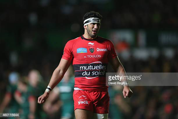 Maxime Mermoz of Toulon looks on during the European Rugby Champions Cup group 3 match between Leicester Tigers and RC Toulon at Welford Road on...