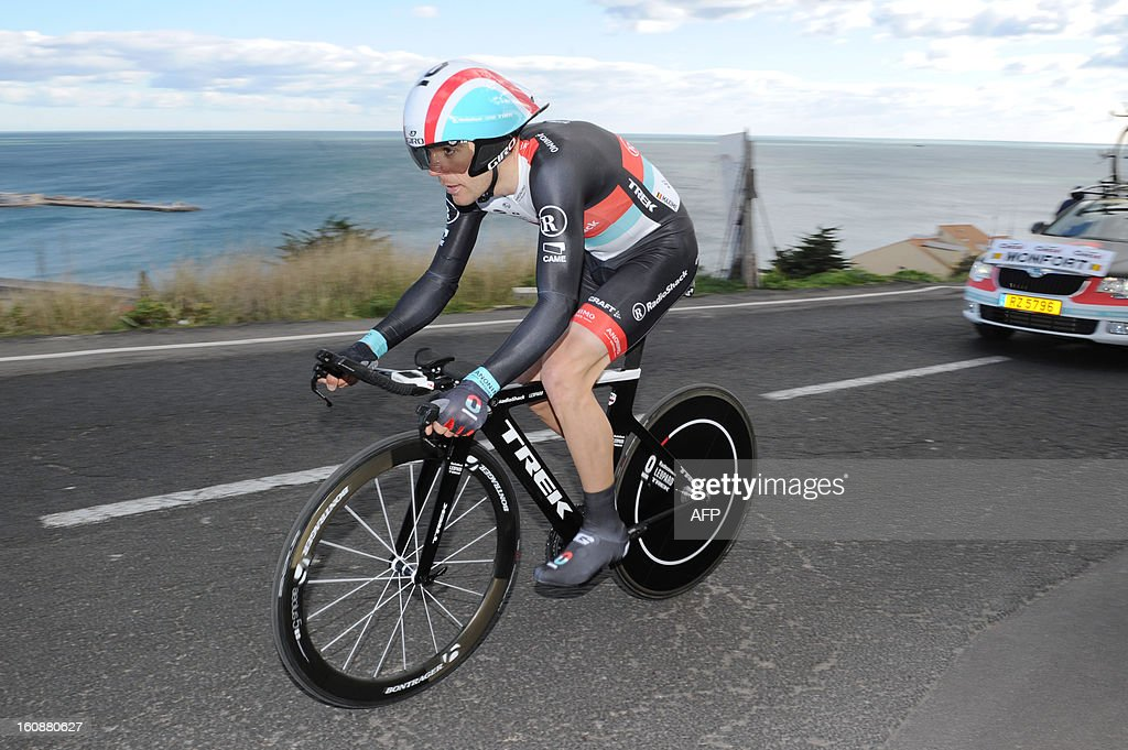 Maxime Monfort of Belgium competes during the second stage, a 24km individual time trial, of the 40th edition of the Tour Mediteranneen cycling race from Cap d'Agde to Sete on February 7, 2013 in Sete, southern France. Lars Boom of Netherland won the stage .
