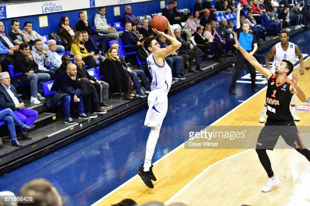 Maxime Roos of Levallois during the EuropCup match between Levallois Metropolitans and Cedevita Zagreb at Salle Marcel Cerdan on November 8 2017 in...