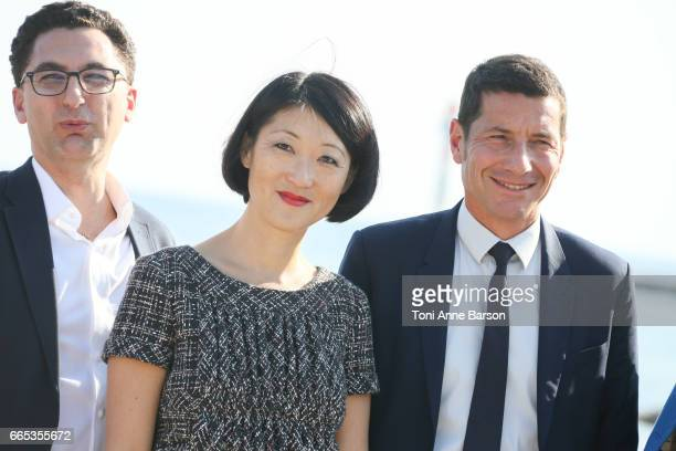 Maxime Saada Canal CEO Fleur Pellerin and David Lisnard Cannes Mayor attend photocall for MIPTV 2017 Opening and New Cannes Television Series...