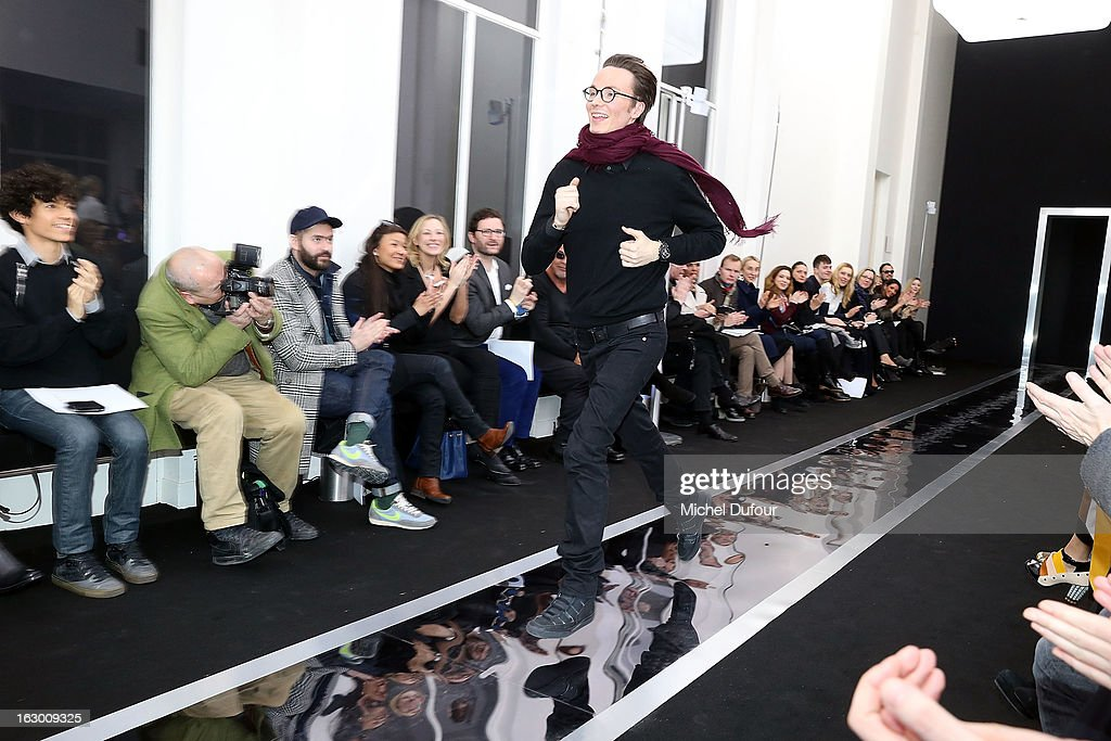 Maxime Simoens runs down the runway during the Maxime Simoens Fall/Winter 2013 Ready-to-Wear show as part of Paris Fashion Week on March 3, 2013 in Paris, France.