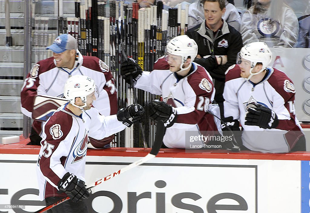 <a gi-track='captionPersonalityLinkClicked' href=/galleries/search?phrase=Maxime+Talbot&family=editorial&specificpeople=2078922 ng-click='$event.stopPropagation()'>Maxime Talbot</a> #25 of the Colorado Avalanche celebrates a second-period goal against the Winnipeg Jets with teammates at the bench at the MTS Centre on March 19, 2014 in Winnipeg, Manitoba, Canada.