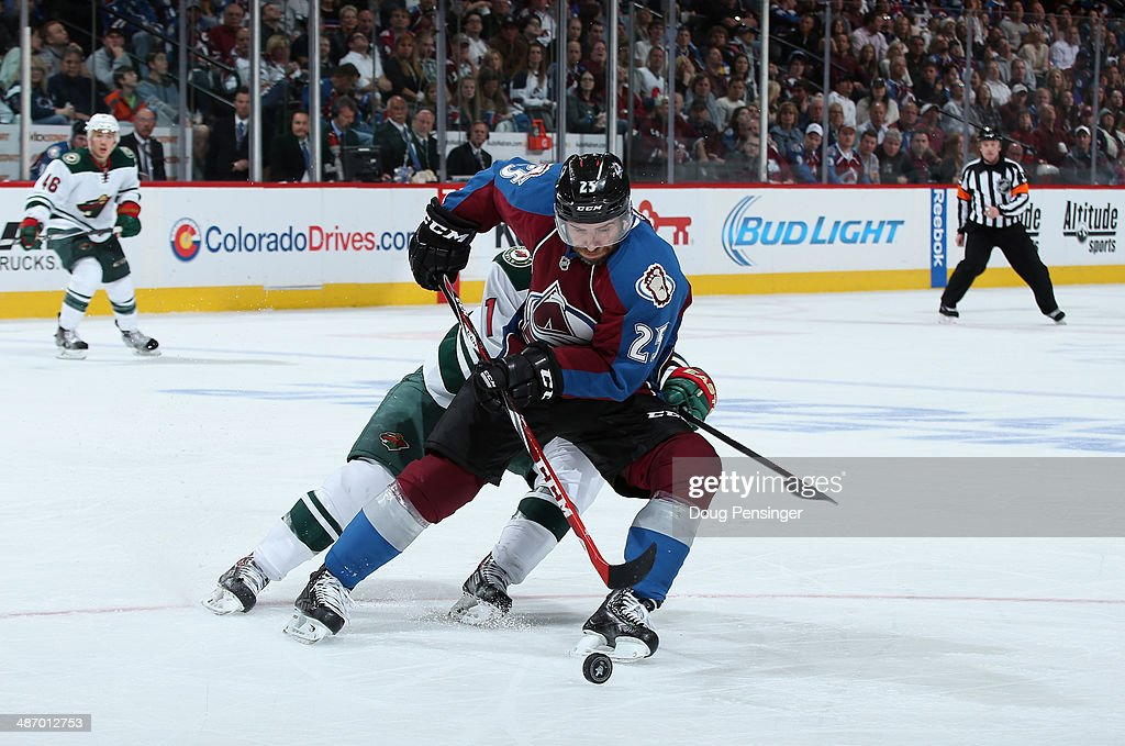 Maxime Talbot #25 of the Colorado Avalanche controls the puck against Zach Parise #11 of the Minnesota Wild Game Five of the First Round of the 2014 NHL Stanley Cup Playoffs at Pepsi Center on April 26, 2014 in Denver, Colorado. The Avalanche defeated the Wild 4-3 in overtime to take a 3-2 game lead in the series.