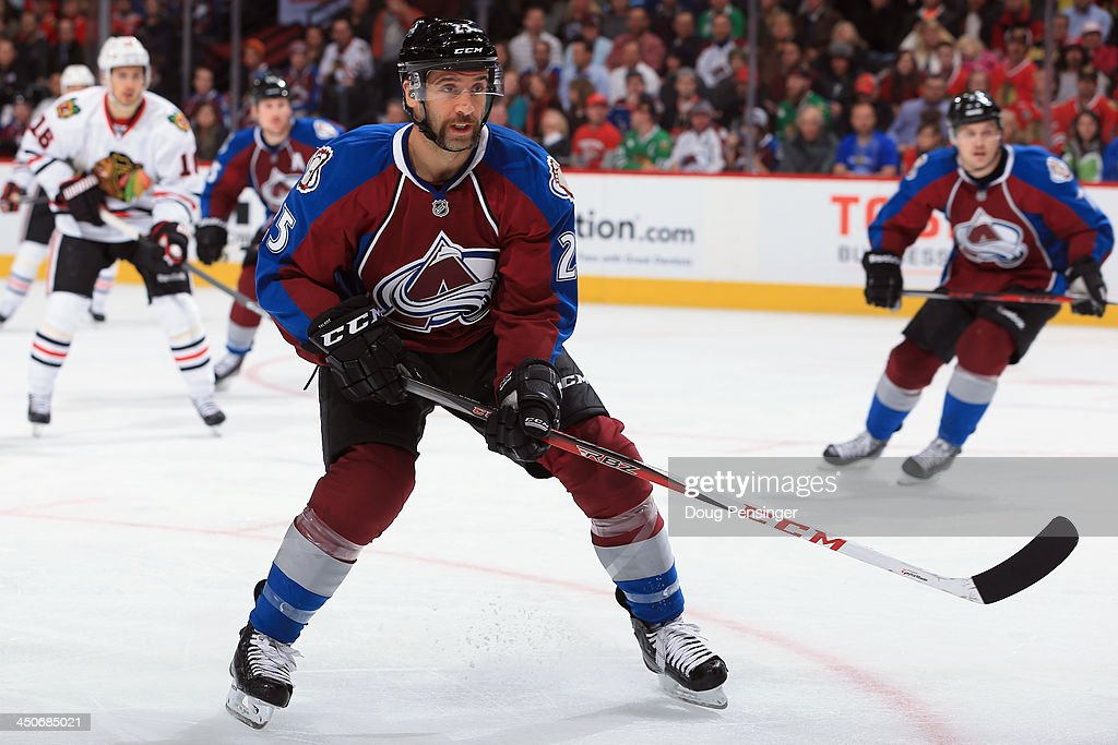 <a gi-track='captionPersonalityLinkClicked' href=/galleries/search?phrase=Maxime+Talbot&family=editorial&specificpeople=2078922 ng-click='$event.stopPropagation()'>Maxime Talbot</a> #25 of the Colorado Avalanche skates against the Chicago Blackhawks at Pepsi Center on November 19, 2013 in Denver, Colorado. The Avalacnhe defeated the Blackhawks 5-1.