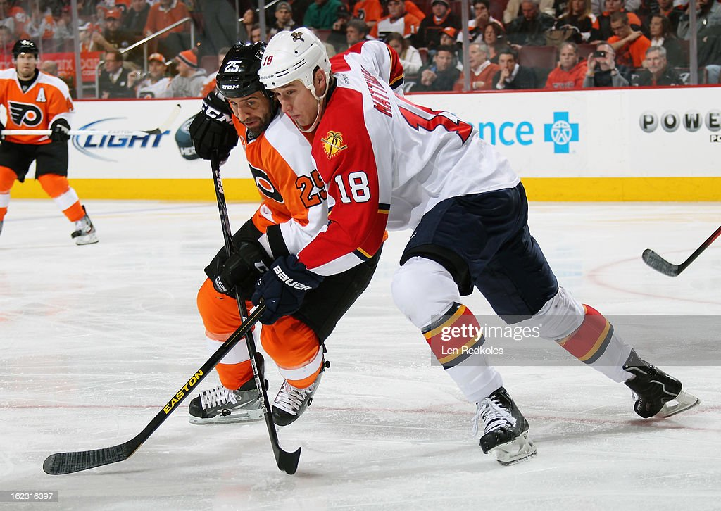 Maxime Talbot #25 of the Philadelphia Flyers battles for position with Shawn Matthias #18 of the Florida Panthers on February 21, 2013 at the Wells Fargo Center in Philadelphia, Pennsylvania. The Panthers went on to defeat the Flyers 5-2.