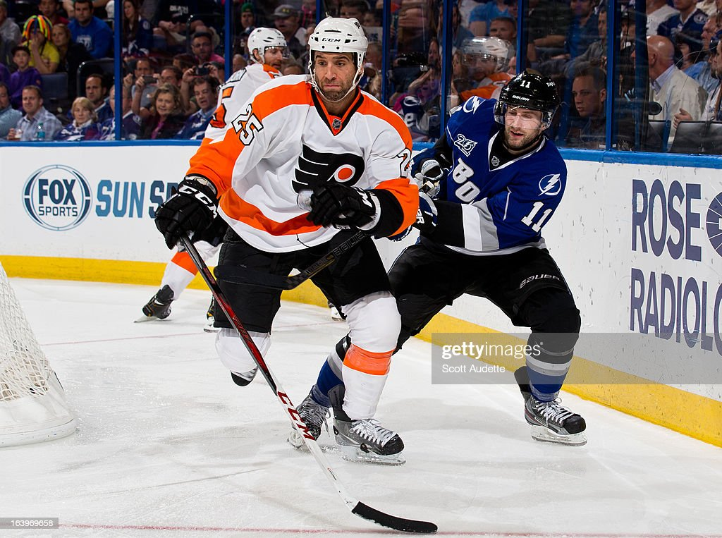 <a gi-track='captionPersonalityLinkClicked' href=/galleries/search?phrase=Maxime+Talbot&family=editorial&specificpeople=2078922 ng-click='$event.stopPropagation()'>Maxime Talbot</a> #25 of the Philadelphia Flyers battles for position with <a gi-track='captionPersonalityLinkClicked' href=/galleries/search?phrase=Tom+Pyatt&family=editorial&specificpeople=2079036 ng-click='$event.stopPropagation()'>Tom Pyatt</a> #11 of the Tampa Bay Lightning during the third period of the game at the Tampa Bay Times Forum on March 18, 2013 in Tampa, Florida.