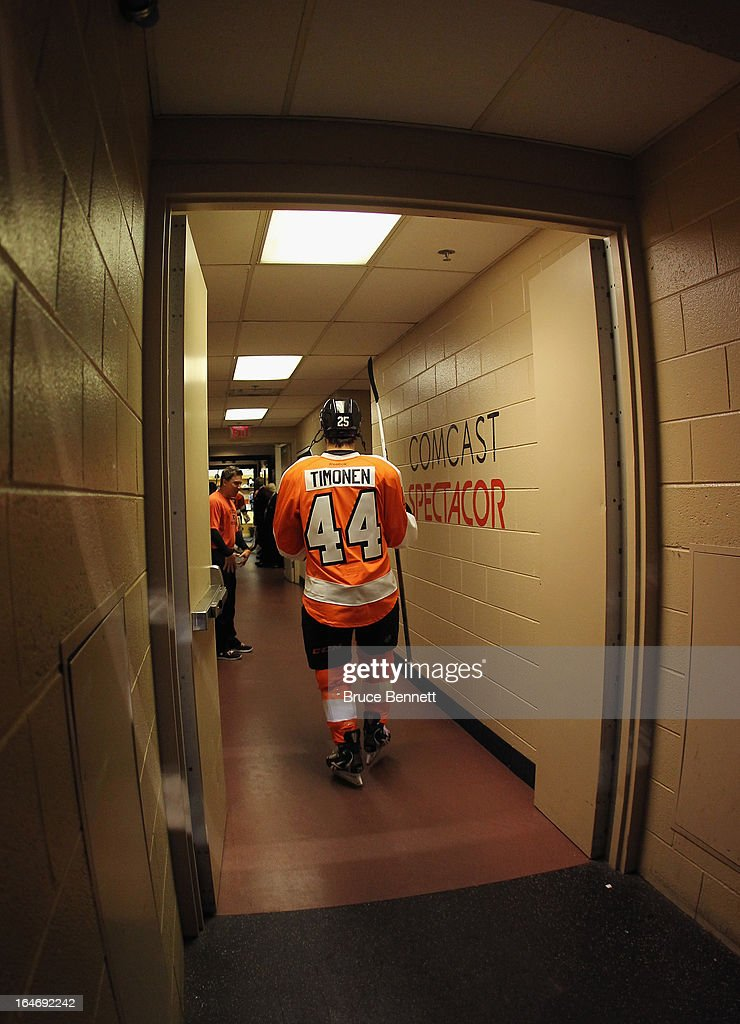 Maxime Talbot #25 of the Philadelphia Flyers gets prepared for warmups while wearing a #44 jersey to honor teammate Kimmo Timonen on his 1000th NHL game at the Wells Fargo Center on March 26, 2013 in Philadelphia, Pennsylvania.