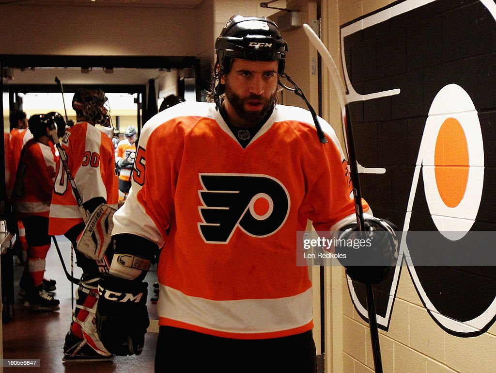 Maxime Talbot #25 of the Philadelphia Flyers prepares to enter the ice surface during warmups prior to his game against the Carolina Hurricanes on February 2, 2013 at the Wells Fargo Center in Philadelphia, Pennsylvania.