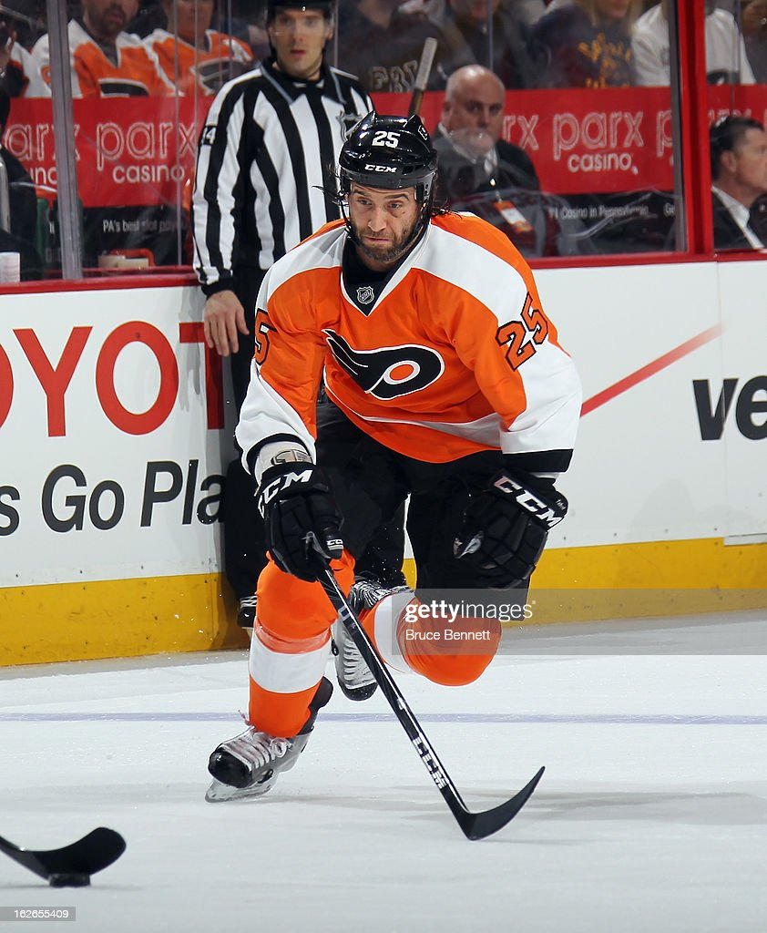 <a gi-track='captionPersonalityLinkClicked' href=/galleries/search?phrase=Maxime+Talbot&family=editorial&specificpeople=2078922 ng-click='$event.stopPropagation()'>Maxime Talbot</a> #25 of the Philadelphia Flyers skates against the Florida Panthers at the Wells Fargo Center on February 21, 2013 in Philadelphia, Pennsylvania.