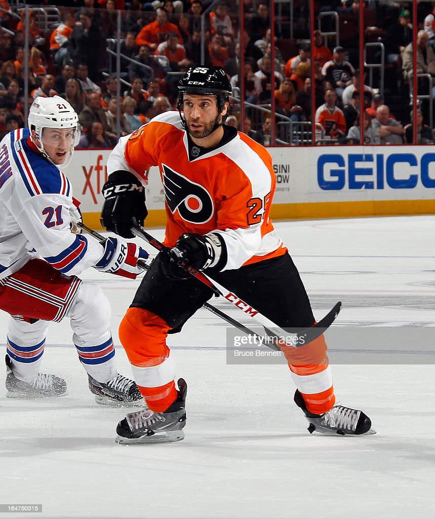 <a gi-track='captionPersonalityLinkClicked' href=/galleries/search?phrase=Maxime+Talbot&family=editorial&specificpeople=2078922 ng-click='$event.stopPropagation()'>Maxime Talbot</a> #25 of the Philadelphia Flyers skates against the New York Rangers at the Wells Fargo Center on March 26, 2013 in Philadelphia, Pennsylvania.