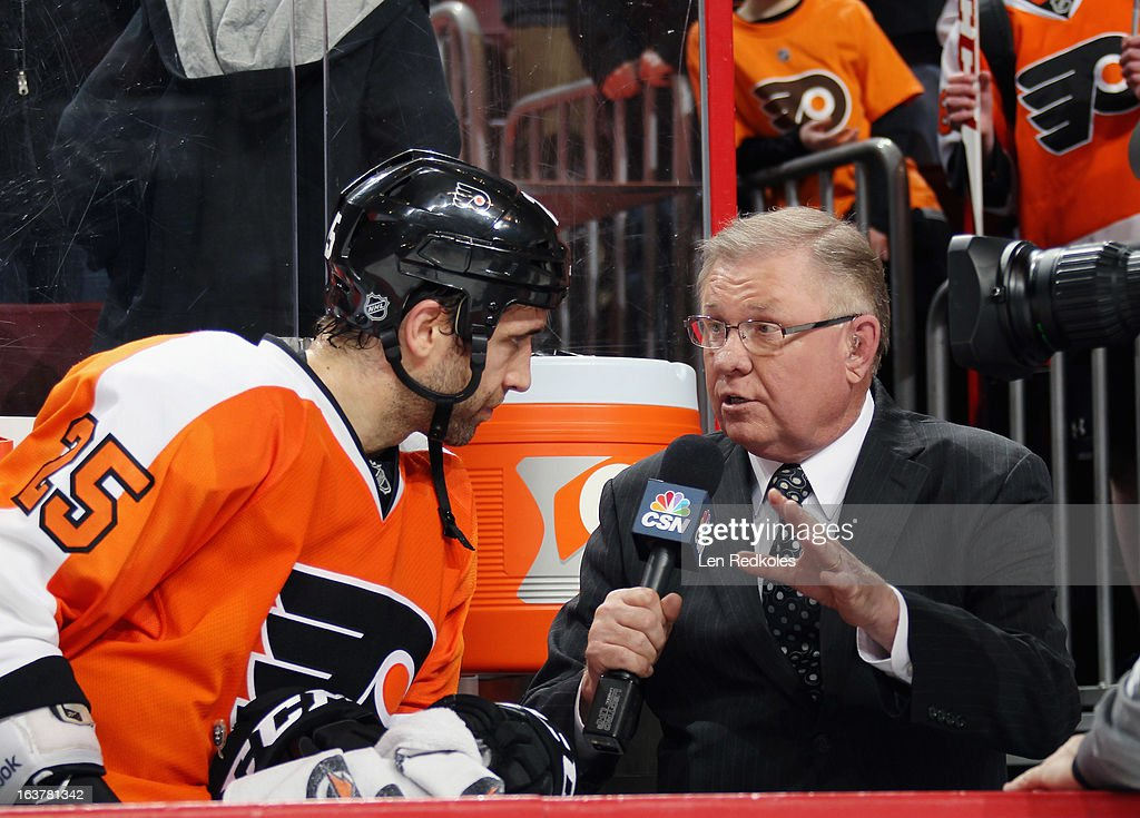 Maxime Talbot #25 of the Philadelphia Flyers speaks to Steve Coates of Comcast SportsNet Philadelphia after a win over the New Jersey Devils 2-1 in a shoot-out on March 15, 2013 at the Wells Fargo Center in Philadelphia, Pennsylvania.