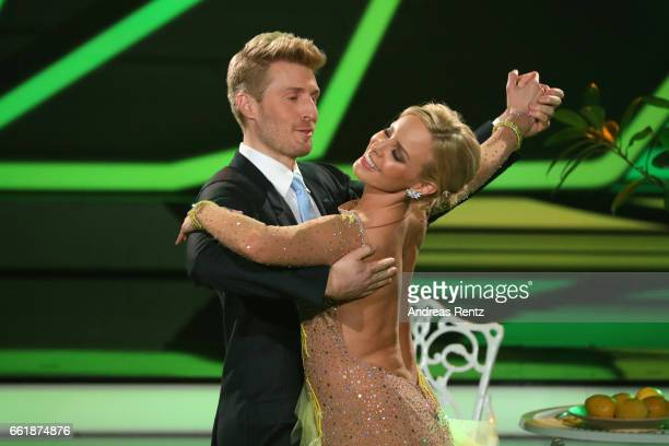 Maximilian Arland and Isabel Edvardsson perform on stage during the 3rd show of the tenth season of the television competition 'Let's Dance' on March...