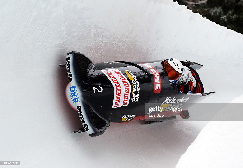 Maximilian Arndt, Marko Huebenbecker, Alexander Roediger and Martin Putze of Germany compete during the Four Men Bobsleigh heat one of the IBSF Bob & Skeleton World Championship at Olympia Bob Run on February 2, 2013 in St Moritz, Switzerland.