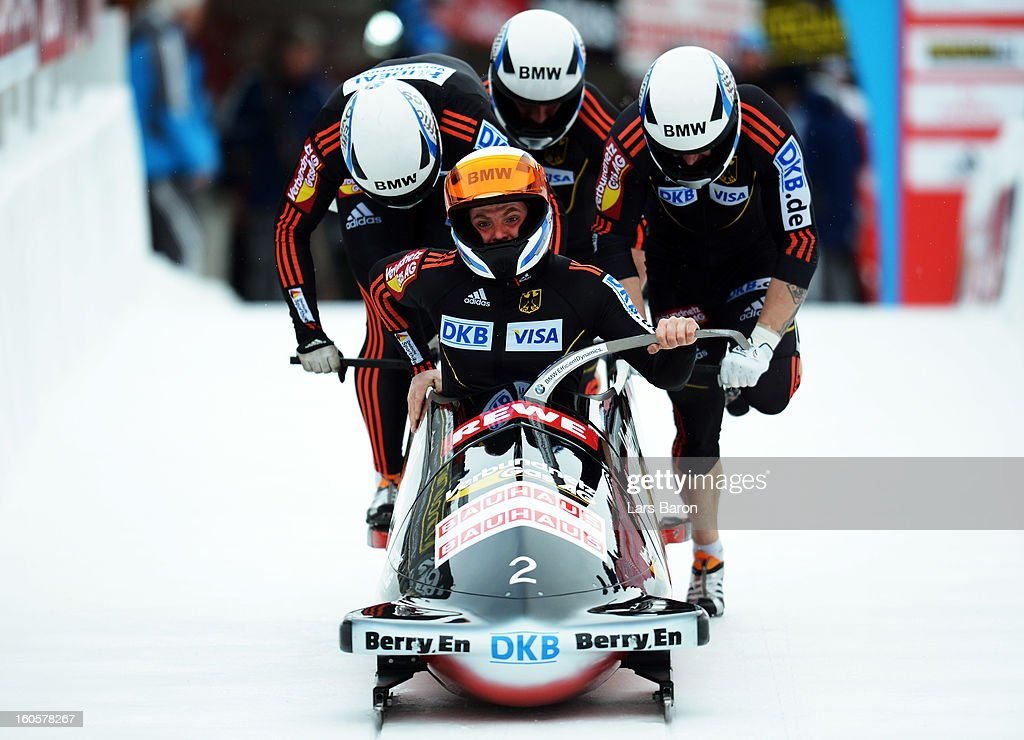 Maximilian Arndt, Marko Huebenbecker, <a gi-track='captionPersonalityLinkClicked' href=/galleries/search?phrase=Alexander+Roediger&family=editorial&specificpeople=4167643 ng-click='$event.stopPropagation()'>Alexander Roediger</a> and <a gi-track='captionPersonalityLinkClicked' href=/galleries/search?phrase=Martin+Putze&family=editorial&specificpeople=868387 ng-click='$event.stopPropagation()'>Martin Putze</a> of Germany compete during the Four Men Bobsleigh heat three of the IBSF Bob & Skeleton World Championship at Olympia Bob Run on February 3, 2013 in St Moritz, Switzerland.