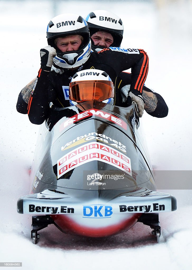 Maximilian Arndt, Marko Huebenbecker, Alexander Roediger and Martin Putze of Germany cellebrates after the Four Men Bobsleigh final heat of the IBSF Bob & Skeleton World Championship at Olympia Bob Run on February 3, 2013 in St Moritz, Switzerland.
