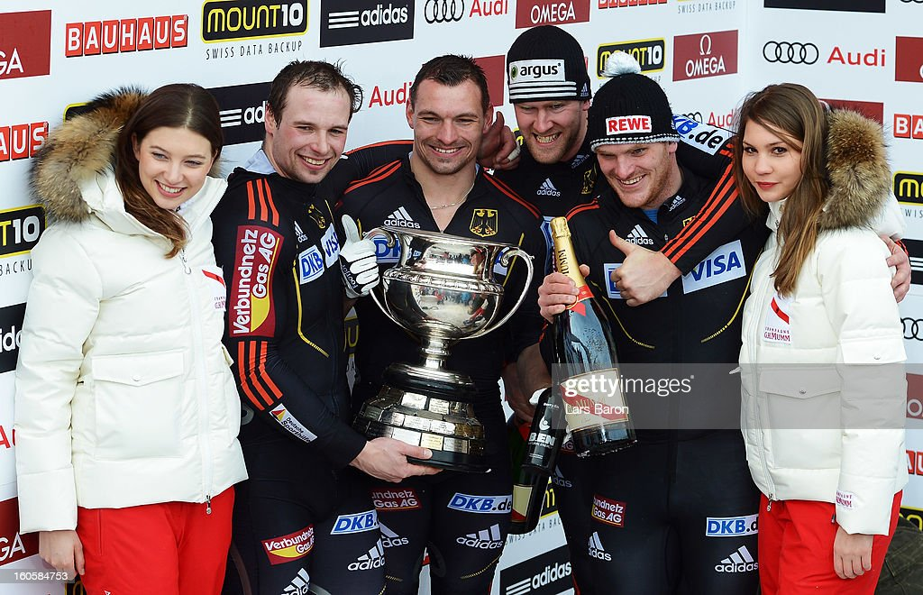Maximilian Arndt, Marko Huebenbecker, Alexander Roediger and Martin Putze of Germany cellebrate after the Four Men Bobsleigh final heat of the IBSF Bob & Skeleton World Championship at Olympia Bob Run on February 3, 2013 in St Moritz, Switzerland.