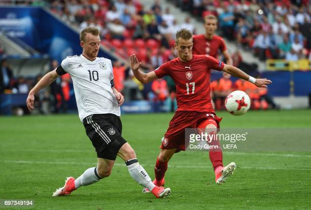 Maximilian Arnold of Germany and Vaclav Cerny of Czech Republic during their UEFA European Under21 Championship match on June 18 2017 in Tychy Poland