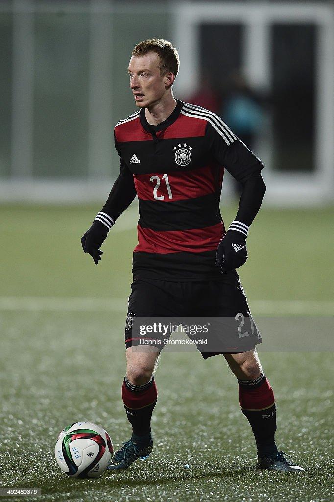 Maximilian Arnold of Germany controls the ball during the 2017 UEFA European U21 Championships Qualifier between U21 Faroe Islands and U21 Germany at...