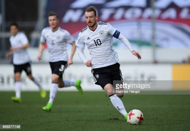 Maximilian Arnold of Germany controls the ball during the U21 International Friendly match between Germany U21 and Portugal U21 at GaziStadion auf...