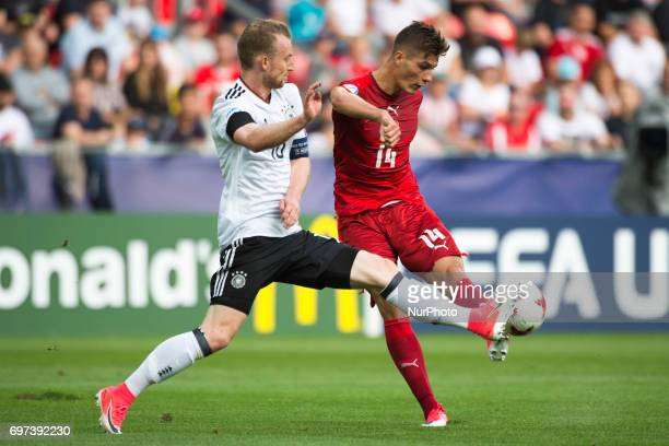 Maximilian Arnold of Germany fights for the ball with Patrik Schilk of Czech during the UEFA European Under21 Championship 2017 Group C match between...