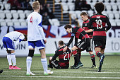 Maximilian Arnold of Germany is congratulated by team mates as he scores the second goal during the 2017 UEFA European U21 Championships Qualifier...