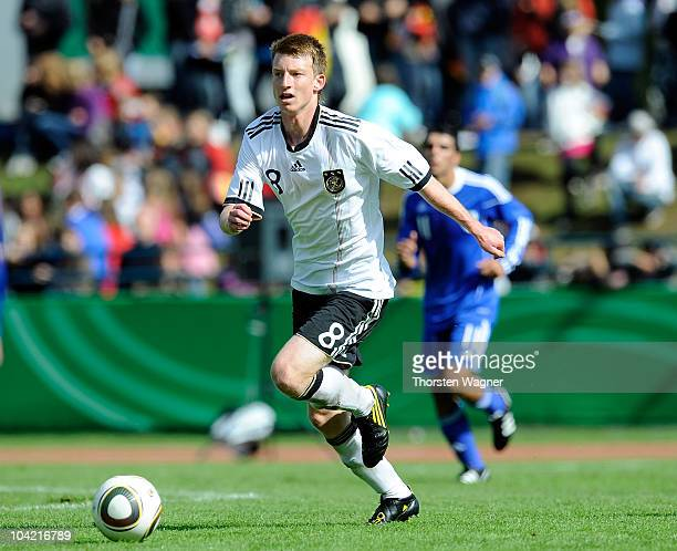 Maximilian Arnold of Germany runs with the ball during the U17 international friendly match between Germany and Israel at Park stadium on September...