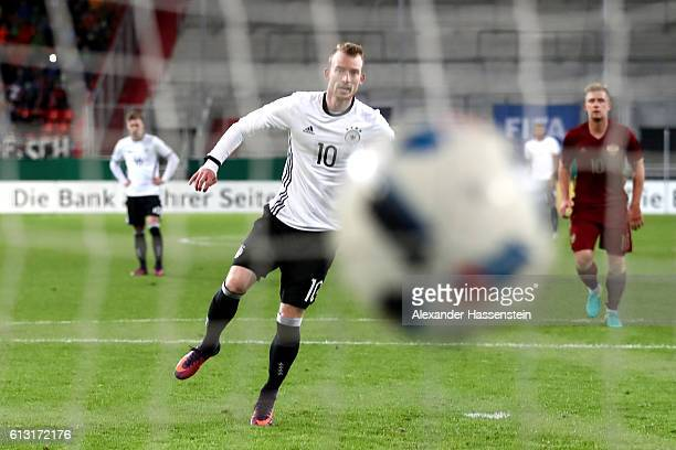 Maximilian Arnold of Germany scores the 4th team goal with a penalty during the 2017 UEFA European U21 Championships Qualifier between Germany and...