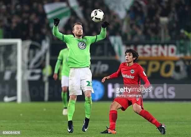 Maximilian Arnold of Wolfsburg and Jesus Vallejo of Frankfurt vie the Bundesliga match between VfL Wolfsburg and Eintracht Frankfurt at Volkswagen...