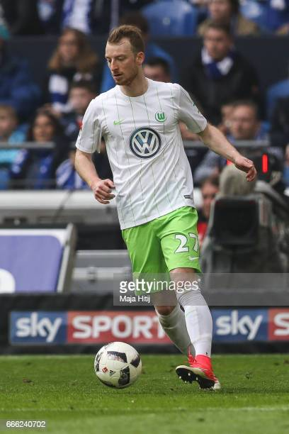 Maximilian Arnold of Wolfsburg controls the ball during the Bundesliga match between FC Schalke 04 and VfL Wolfsburg at VeltinsArena on April 8 2017...